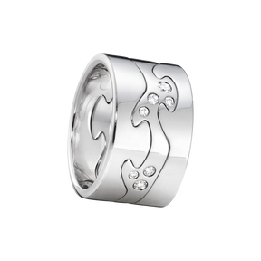 FUSION 3-piece ring - 18 kt. white gold with brilliant cut diamonds
