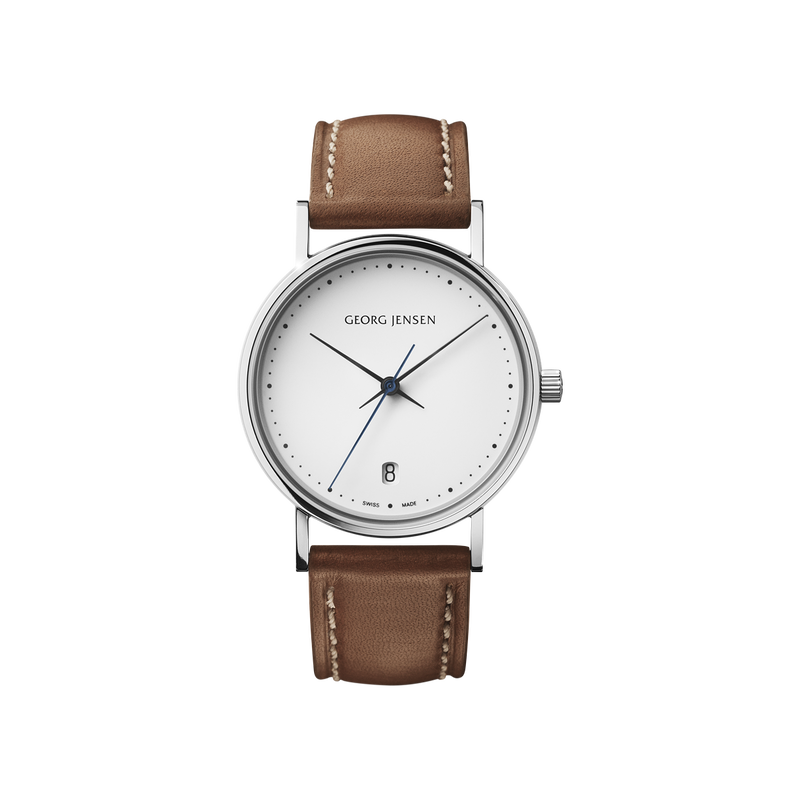 KOPPEL - 32 mm, Quartz, white dial, brown leather strap