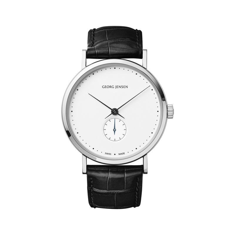 KOPPEL - 38 mm, Mechanical hand-wound, white dial, black alligator strap