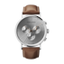KOPPEL - 41 mm, Chronograph, silver dial, brown leather strap