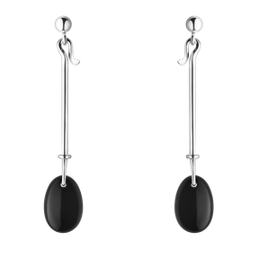 DEW DROP earrings - sterling silver with black onyx