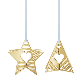 2019 Holiday Ornaments, Star and Tree - Gold Plated| Georg Jensen