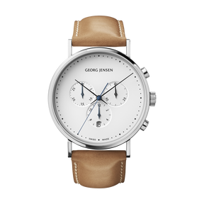 KOPPEL watch, 41mm chronograph quartz, white dial, tan calfskin