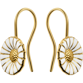 DAISY earrings - gold plated sterling silver with white enamel