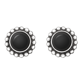 MOONLIGHT BLOSSOM earrings - sterling silver with black onyx
