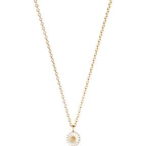 DAISY gold plated pendant with white enamel (11 mm)