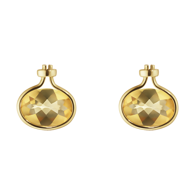 SAVANNAH earrings - 18 kt. yellow gold with citrine
