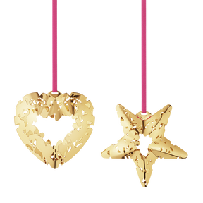 2015 Holiday Ornament set, Heart and Star, gold plated