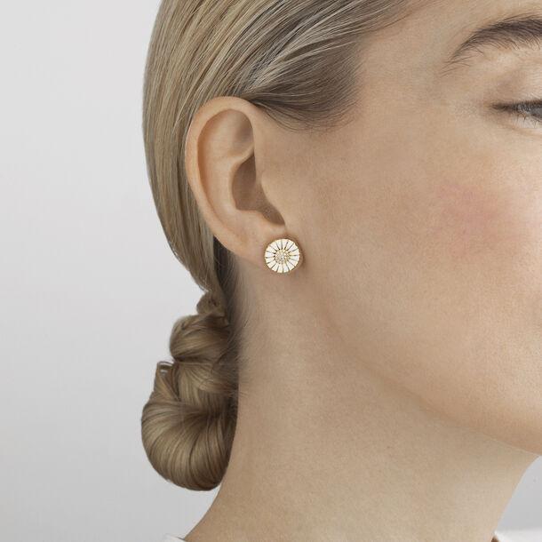 Hand Crafted Enamel Daisy Diamond Earrings