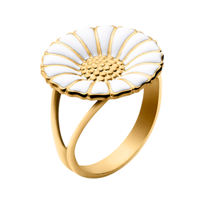 DAISY RING 18 MM - white enamel