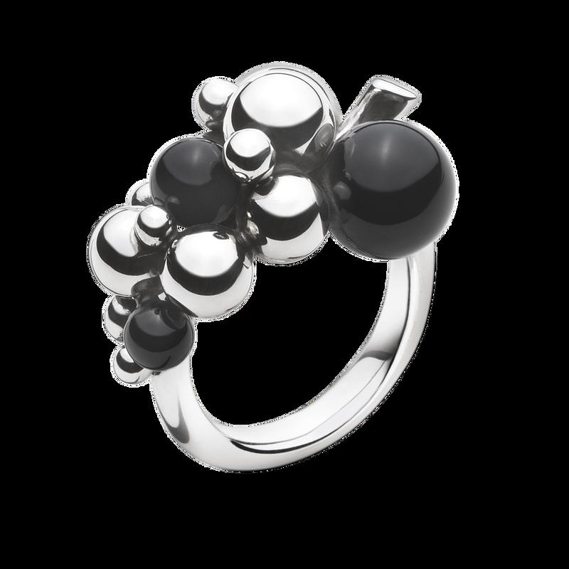 dfd579e2abd MOONLIGHT GRAPES ring - sterlingsølv med sort onyx, lille I Georg Jensen