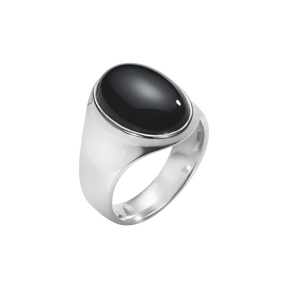 MEN'S CLASSIC ring - sterling silver with black onyx