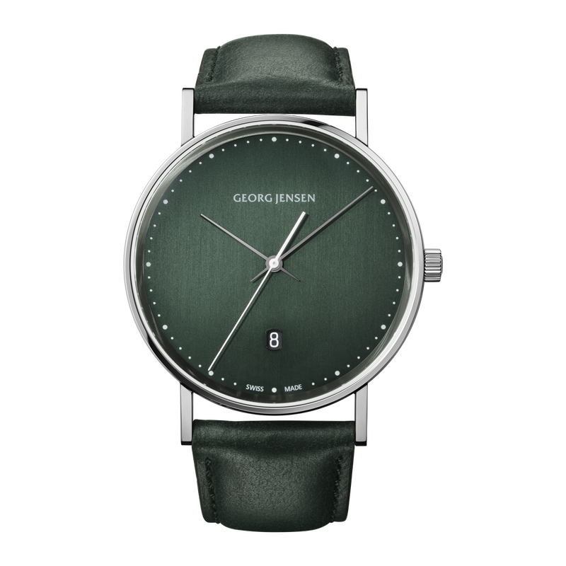 <p>KOPPEL - 41 mm, Quartz, green dial, green leather strap