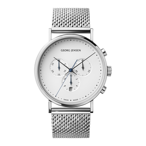 KOPPEL - 41 mm, Chronograph, white dial, steel bracelet