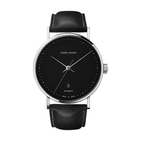 KOPPEL - 41 mm, Automatic mechanical, black dial, black leather strap