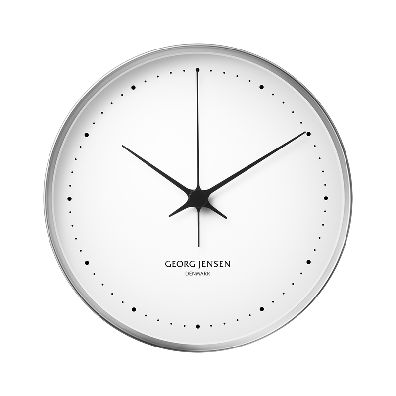 KOPPEL 30 cm wall clock, stainless steel with white dial