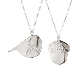2018 Ornament Acorn and Winter Bird set - palladium plated