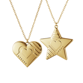 2019 Ornament set, Heart and Star - Gold plated| Georg Jensen