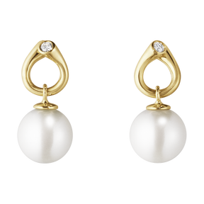 MAGIC earrings - 18 kt. yellow gold with pearls and diamonds