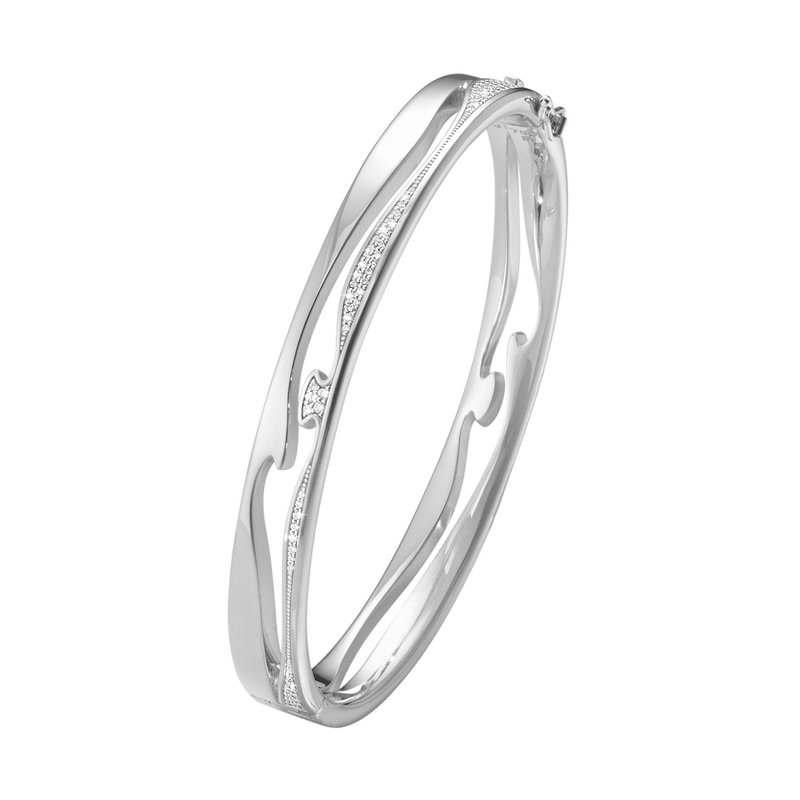 FUSION open bangle – 18 kt. white gold pavé