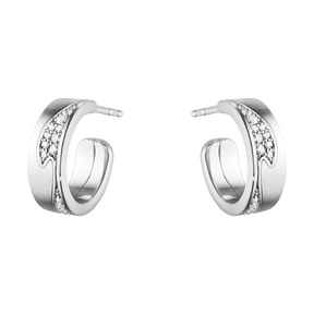 FUSION small earhoop – 18 kt. white gold with pavé 0.18 ct