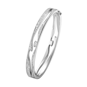 FUSION open bangle - 18 kt. white gold with full pavé