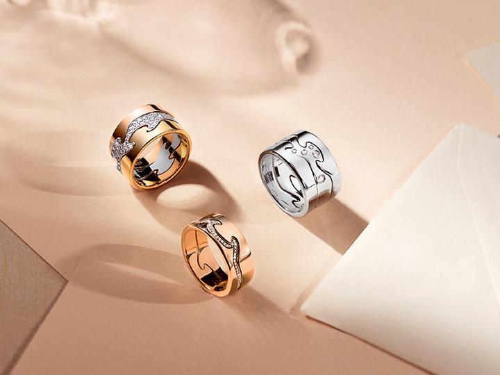 Fusion 3-piece rings ( YG, RG, WG and brilliant cut diamonds) and 2-piece ring (RG and brilliant cut diamonds)