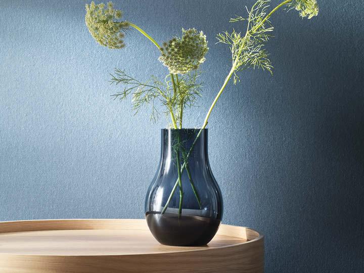 Designer Vases In Gold Steel Or Blue Glass Georg Jensen