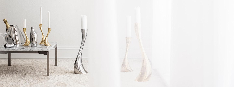 Cobra floor candleholders, SKY shaker and Indulgence champagne cooler