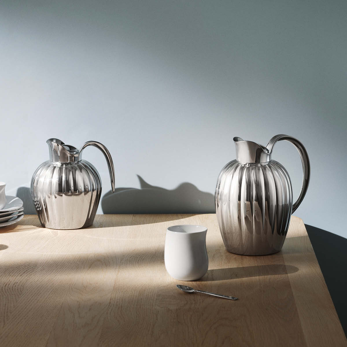 Bernadotte thermo and thermo jug in stainless steel and cobra thermo cup in white porcelain