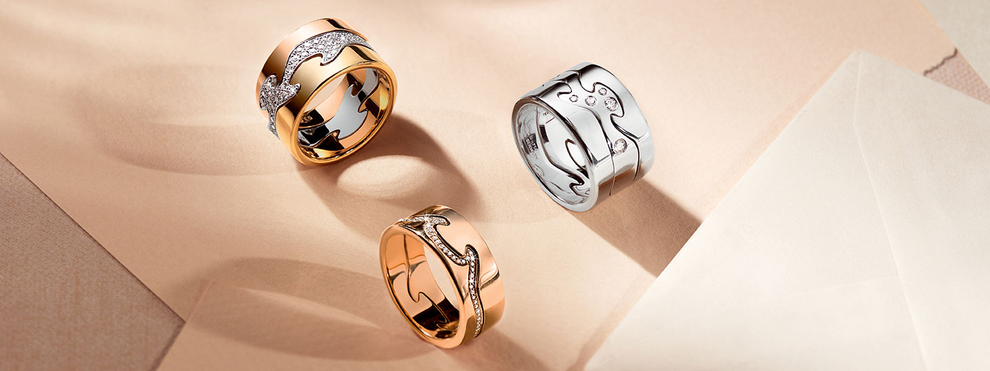 Fusion 2-piece ring and 3-piece ring with YG, WG, and RG with brilliant cut diamonds