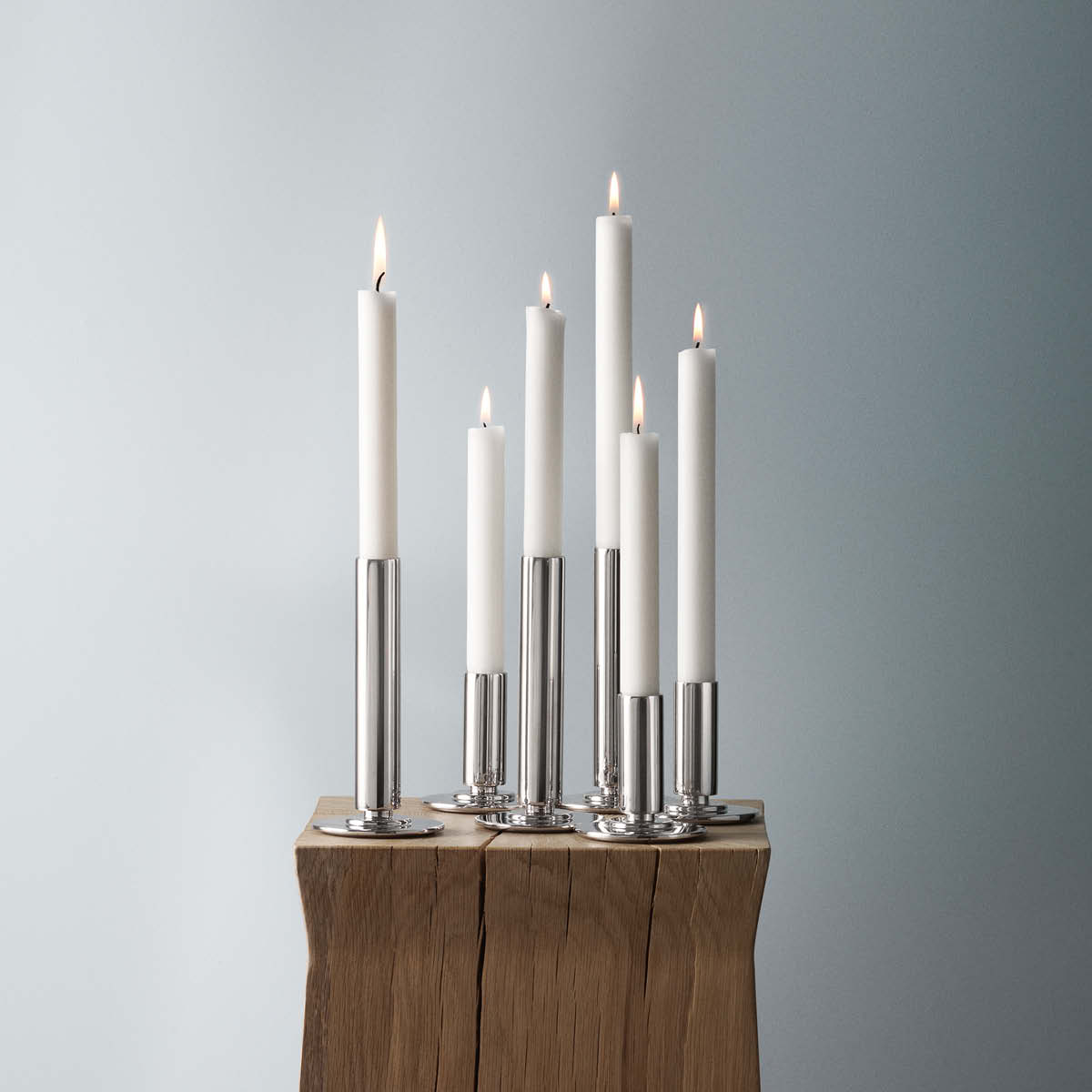 Manhattan candle holders (small and large) in mirror polished stainless steel
