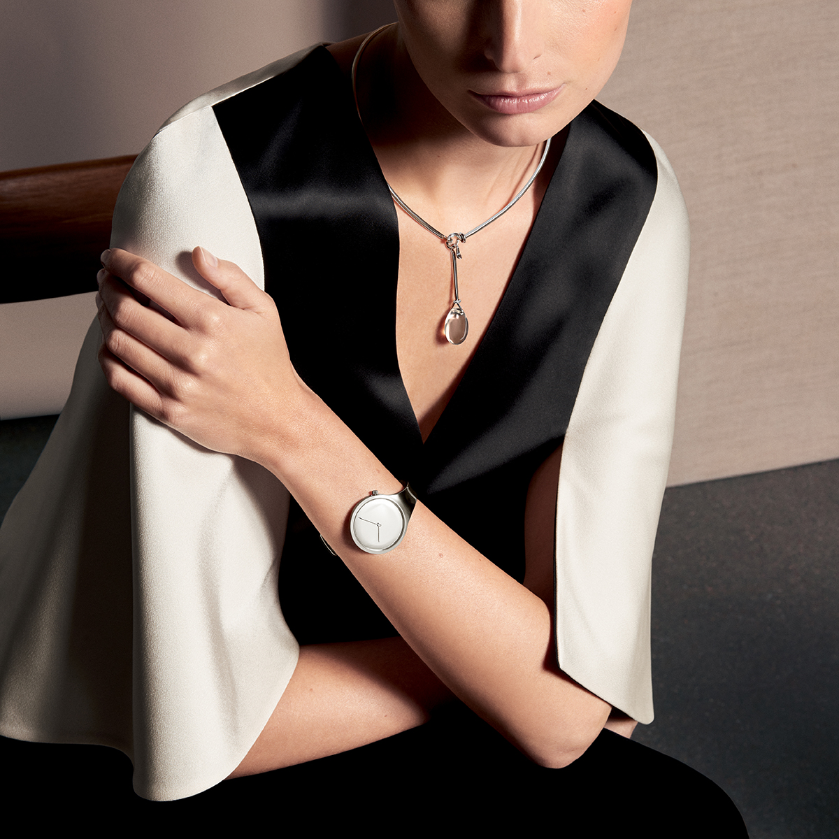 Vivianna bangle watch in stainless steel and Dew Drop necklace in sterling silver with brilliant cut diamonds