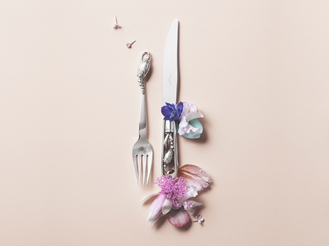 Georg Jensen Art Nouveau sterling silver knife and fork from Blossom collection