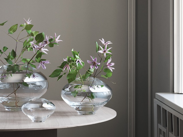 Georg Jensen Danish design mouth blown small medium and large vases from Duo collection