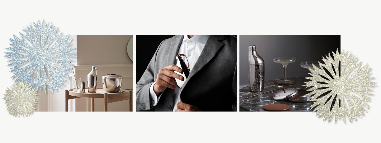 Bar accessories from the Sky collection as Christmas gift inspiration for men designed by Georg Jensen