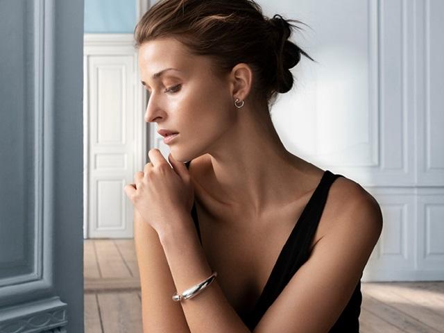 Mercy earrings and bangle bracelet in sterling silver