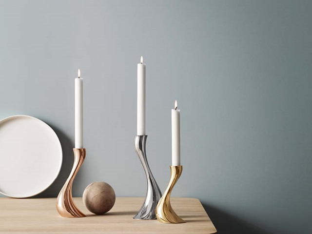Cobra candle holders set in mirror polished stainless steel, rose gold-plated and yellow gold-plated stainless steel