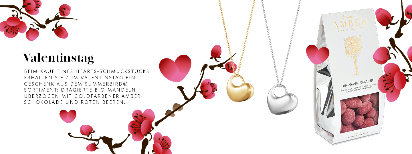Georg Jensen x Summerbird cooperation for Valentines 2021. Buy a product and get chocolate in Germany