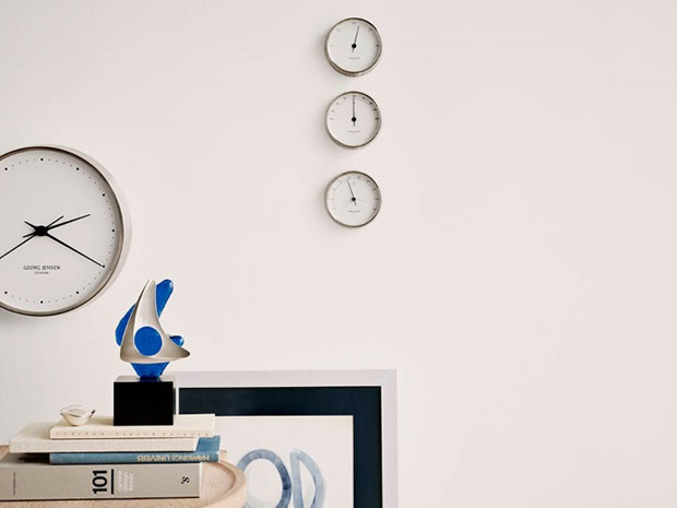 Koppel wall clock, thermometer, barometer, hygrometer in stainless steel with white dial