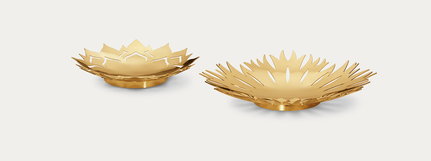 Frozen Flowers bowls Christmas table decorations in gold designed by Georg Jensen