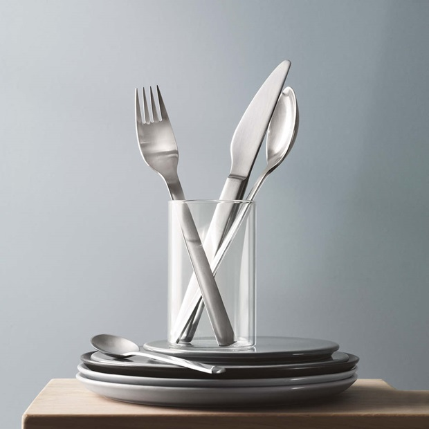 New York cutlery set in matte stainless steel