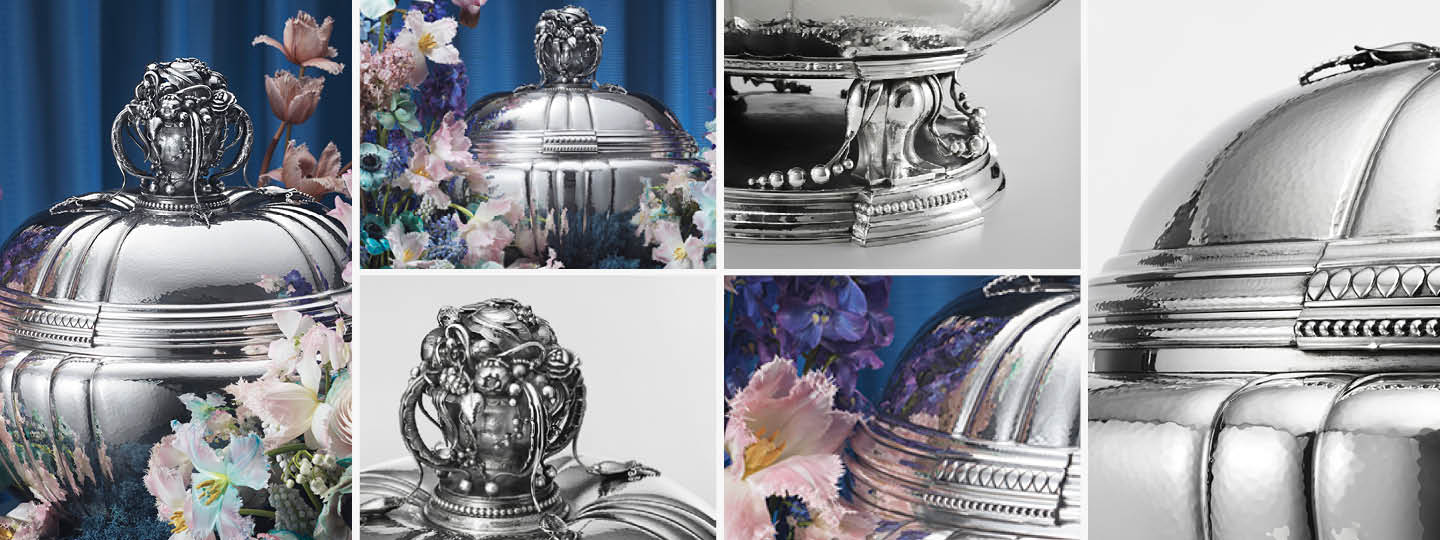 Grid image featuring mirror polished fine sterling silver Tureen 270 designed by Georg Jensen
