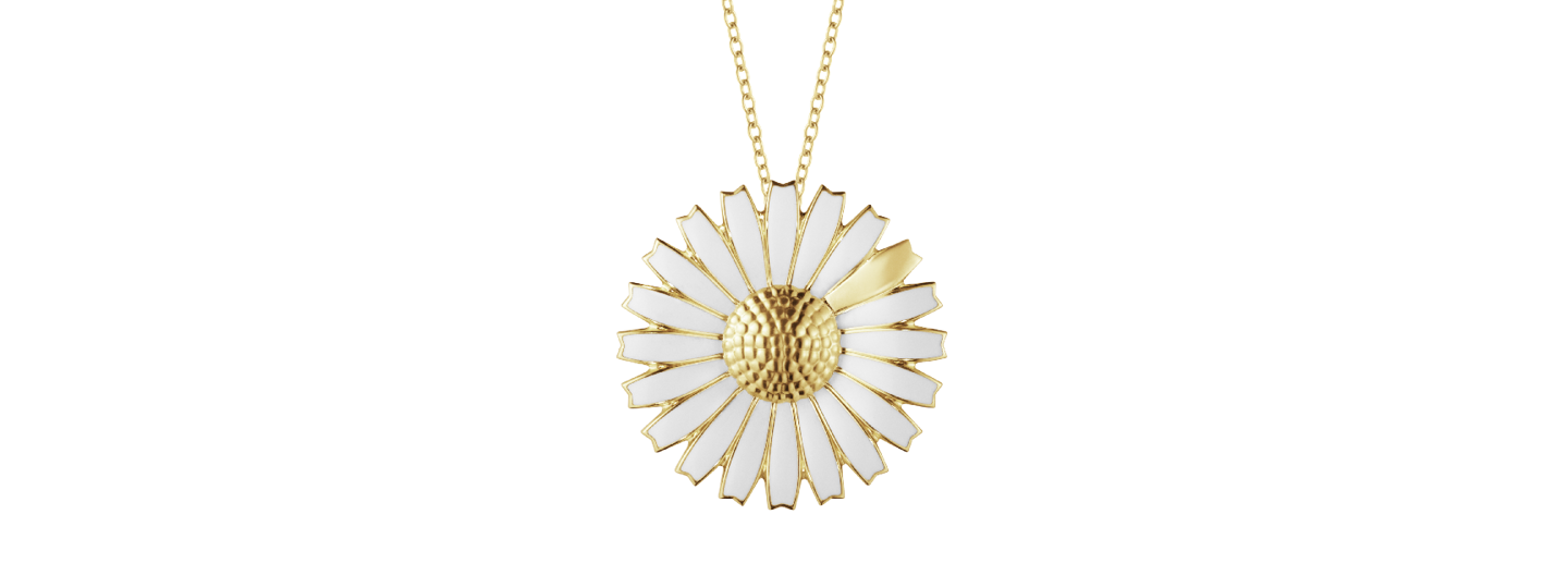 Georg Jensen 18kt gold plated sterling silver necklace with white enamel brooch pendant in flower shape from Daisy collection