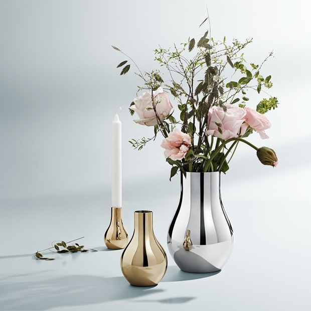 Cafu vases, candleholder gold and steel
