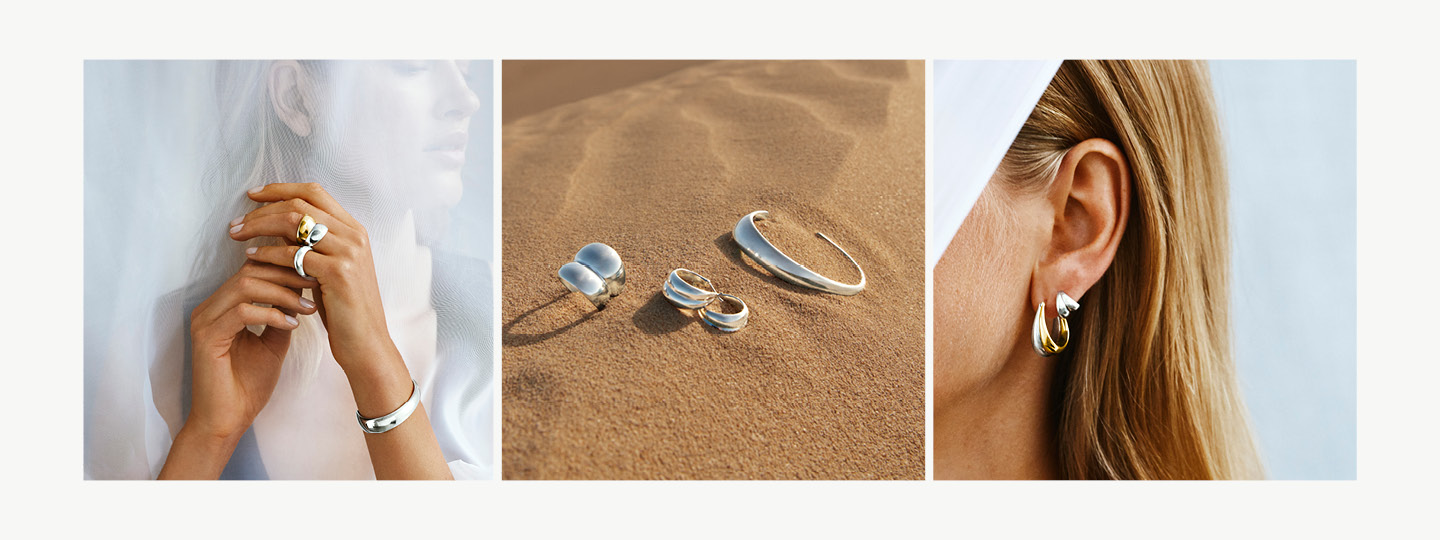 Grid image with Curve collection rings and earrings in 18 kt. gold and sterling silver on model