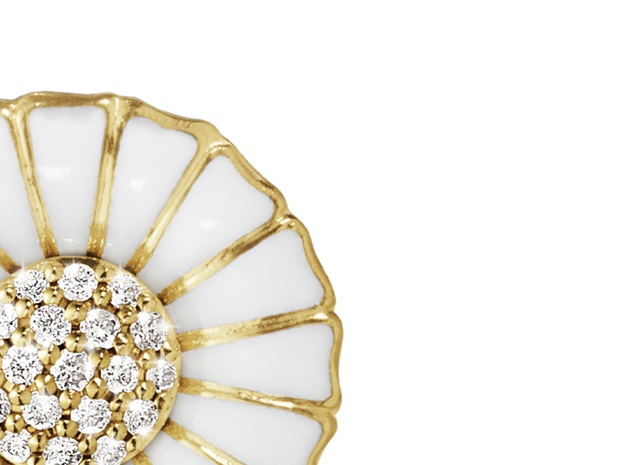 Daisy white with gold and diamonds