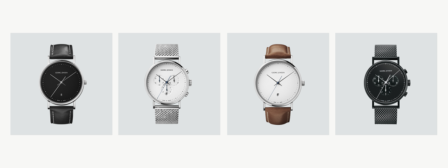 Grid image with watches from the Koppel collection in polished stainless steel with quartz movement