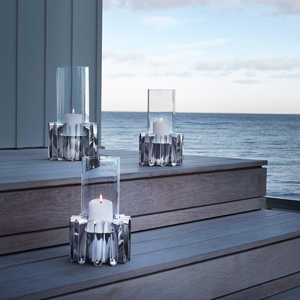 hurricane candleholders in glass and stainless steel