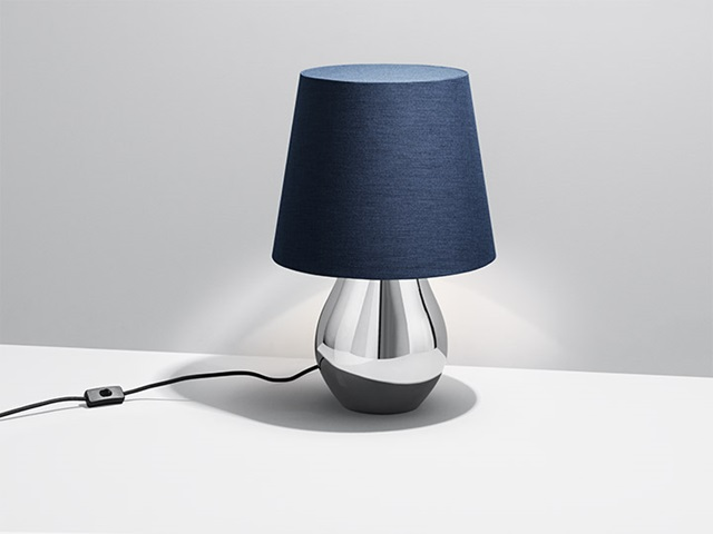 Table lamp from the Cafu collection in polished stainless steel and blue fabric designed by Holmbäck Nordentoft